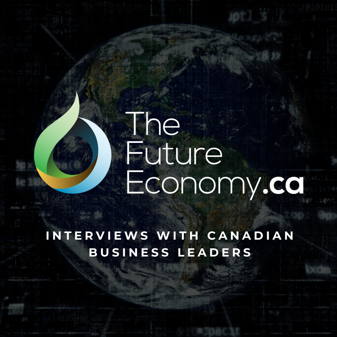a globe that features the future economy dot ca logo and says interviews with canadian business leaders