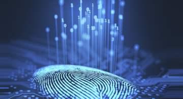 a digital fingerprint with code coming off it in a futuristic stream