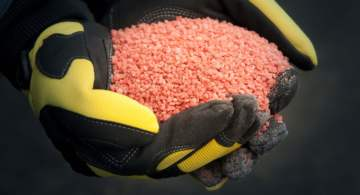 industrial gloves holding potash mining product