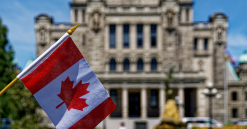Flag of Canada in the left corner