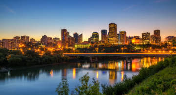 Edmonton skyline in the night