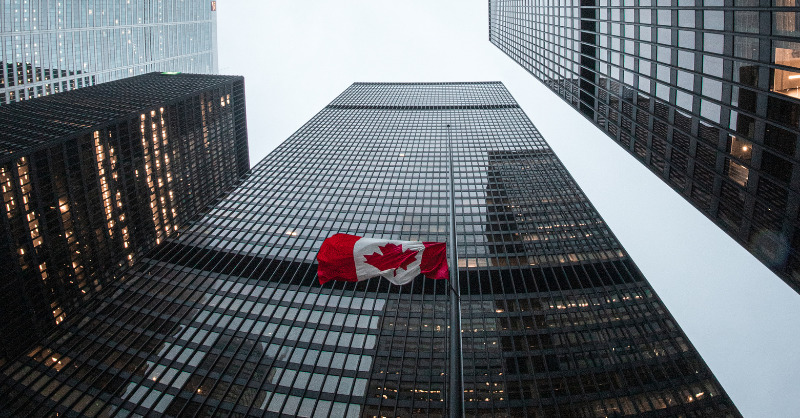 Canada Flag in centre